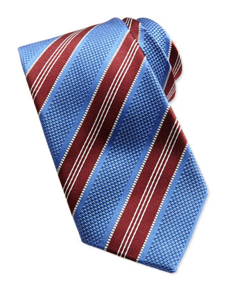 Textured Stripe Woven Tie, Blue