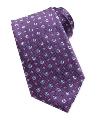 Flower Pattern Neat Woven Tie, Purple
