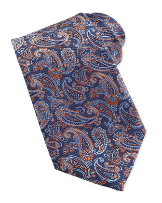 Paisley Pattern Woven Tie, Orange