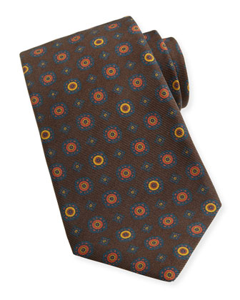 Medallion-Print Woven Tie, Green