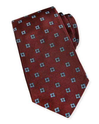 Neat Square Silk Tie, Burgundy
