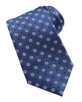 Flower Pattern Neat Woven Tie, Navy