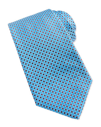 Circle Neat Woven Tie, Light Blue