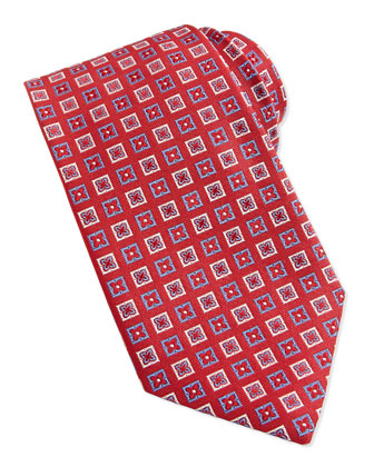 Flower-Box Pattern Woven Tie, Red