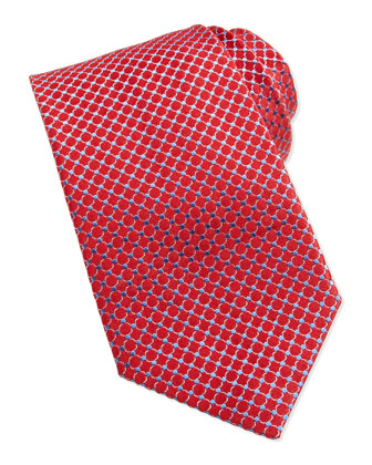 Circle Neat Woven Tie, Red
