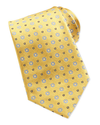 Flower Pattern Neat Woven Tie, Yellow