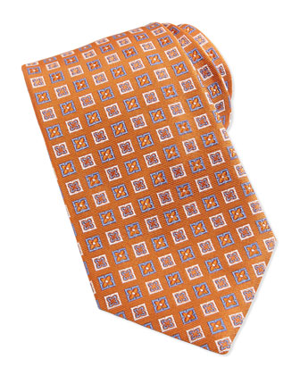 Flower-Box Pattern Woven Tie, Orange