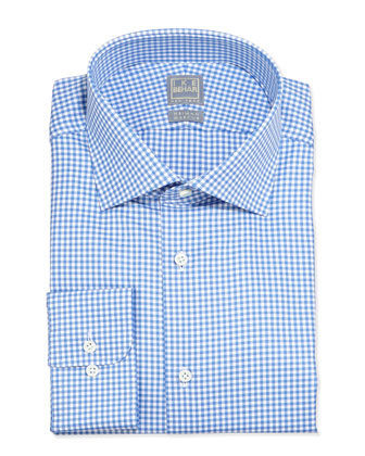 Long-Sleeve Gingham Dress Shirt, Blue Topaz