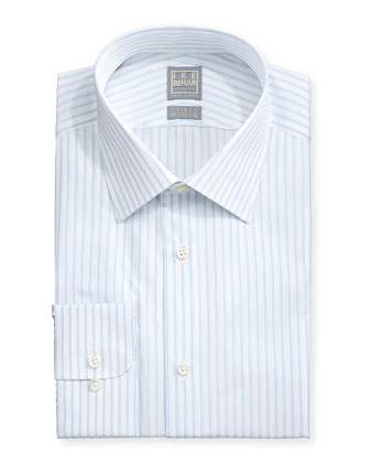 Pinstripe Twill Dress Shirt, Lt. Blue