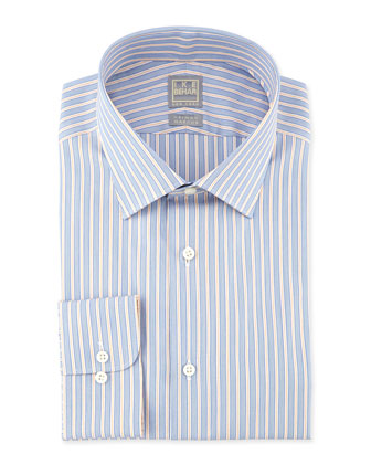 Striped Woven Dress Shirt, Blue/Orange
