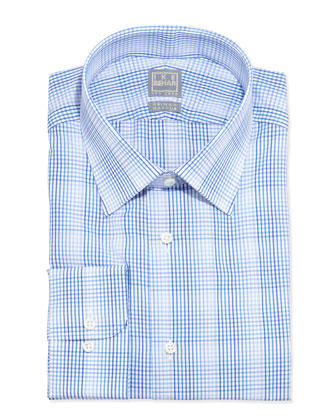 Long-Sleeve Plaid Dress Shirt, Shades of Blue