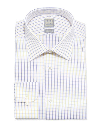 Tattersall Check Dress Shirt, Yellow/Navy