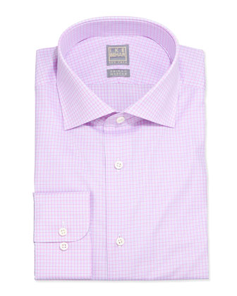 Micro-Check Poplin Dress Shirt, Pink