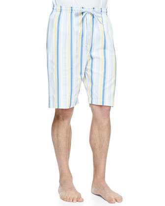 Striped Bermuda Lounge Shorts, Yellow/Blue