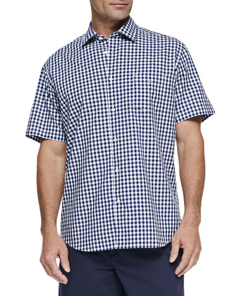 Gingham Short-Sleeve Shirt, Navy