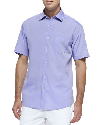 Solid Woven Short-Sleeve Shirt, Lilac