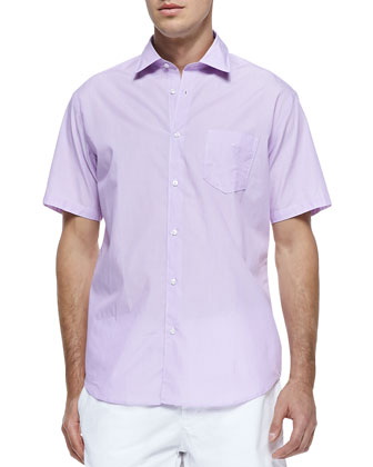 Solid Woven Short-Sleeve Shirt, Pink