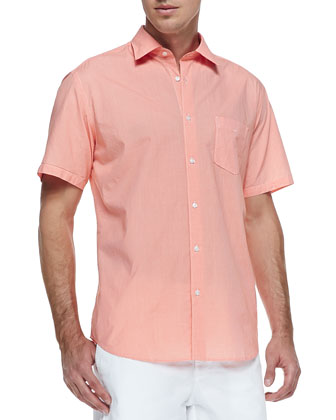 Micro-Gingham Short-Sleeve Shirt, Orange