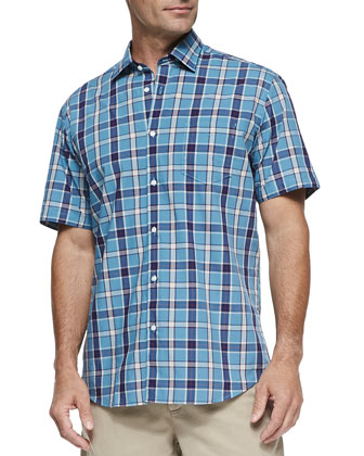Large-Plaid Short-Sleeve Shirt, Turquoise