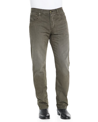 5-Pocket Twill Pants, Olive