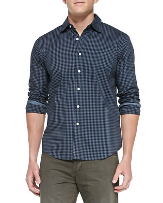 Gingham Mirage Button-Down Shirt, Blue
