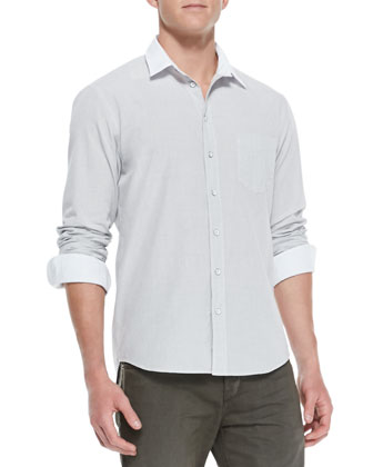 White-Collar Button-Down Shirt, Dark Gray
