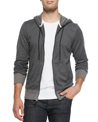 Heathered Knit Zip Hoodie, Dark Gray