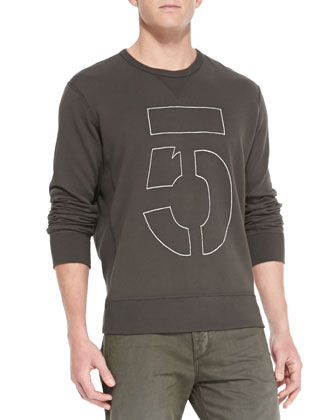 Long-Sleeve Number 5 Sweatshirt, Dark Gray