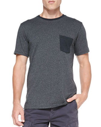 Contrast Pocket Tee, Light Gray