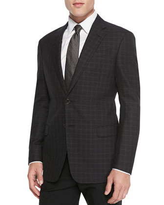 G-Line Textured Windowpane Jacket, Burgundy
