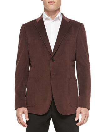 Grid-Texture Velvet Soft Jacket, Burgundy