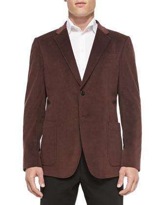 Grid-Texture Velvet Soft Jacket, Burgundy