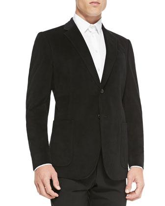Grid-Texture Velvet Soft Jacket, Black