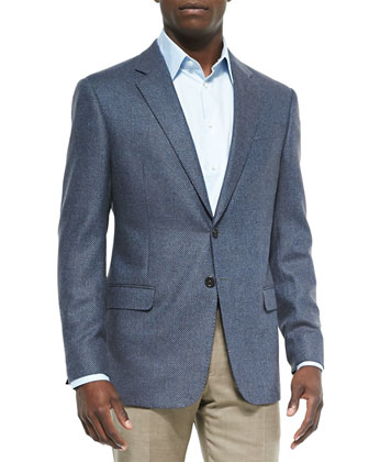 Mini-Check Wool-Blend Jacket, Brown/Blue
