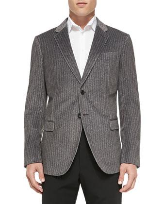 Herringbone-Print Soft Jacket, Gray