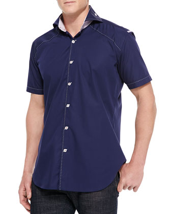 Mini Peter Solid Woven Sport Shirt, Navy