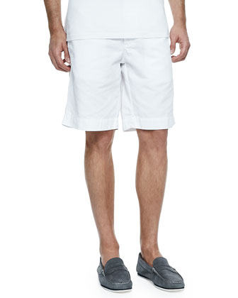 Cotton-Linen Blend Shorts, White