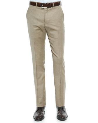 Flannel Flat-Front Trousers, Tan