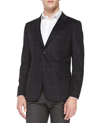Plaid-Print Soft Jacket & Flannel Flat-Front Trousers