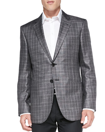 Plaid Two-Button Jacket, Silver/Black/Tan