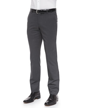 Wool/Cashmere Solid Trousers, Medium Gray