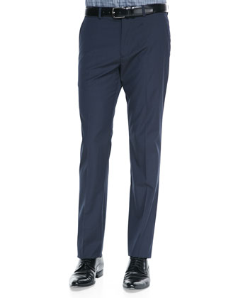 Marlo Tonal-Grid Graysin Pants, Navy