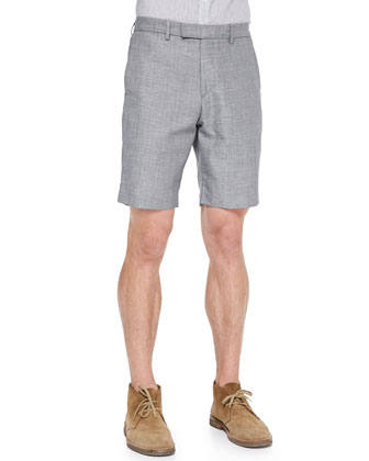 Sten S Wool/Linen Bruney Shorts, Black Heather