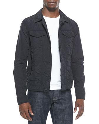 Nylon Trucker Jacket, Black