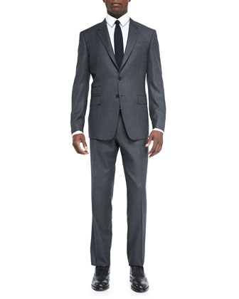 Birdseye Two-Button Suit Jacket, Charcoal