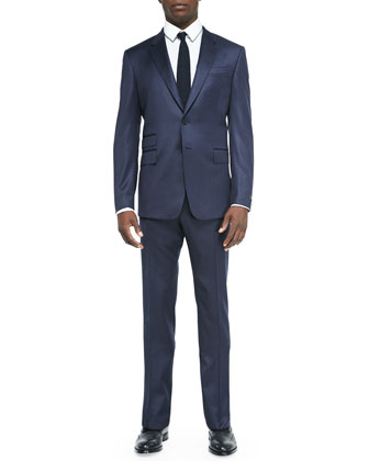 Mini-Check Two-Button Suit Jacket, Navy