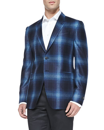 Shadow-Plaid Two-Button Jacket, Bright Blue
