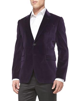 Slim-Fit Velvet Jacket & Wool/Cashmere Flat-Front Trousers