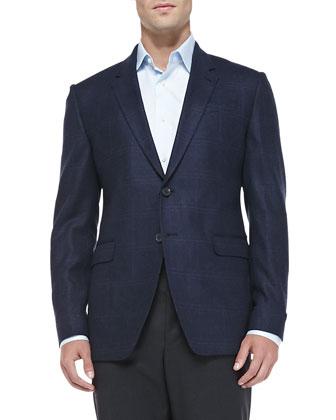 Herringbone Windowpane Jacket & Wool/Cashmere Flat-Front Trousers