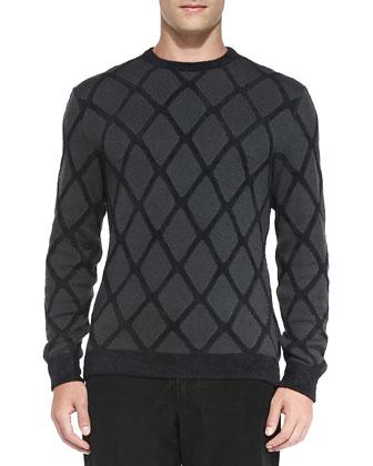 Chenille-Lattice Pullover Sweater, Charcoal